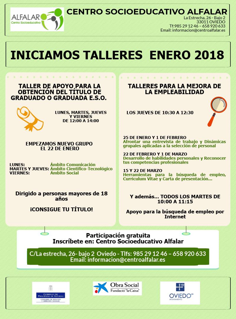 INICIAMOS TALLERES ENERO 2018! – Centro Alfalar